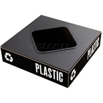 Safco® Public Square® Plastic/Waste Square Opening Lid - 2989BL