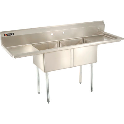 Aero Manufacturing Company® AF2-2424-24LR Two Bowl SS Sink, Right and Left Side Drainboard