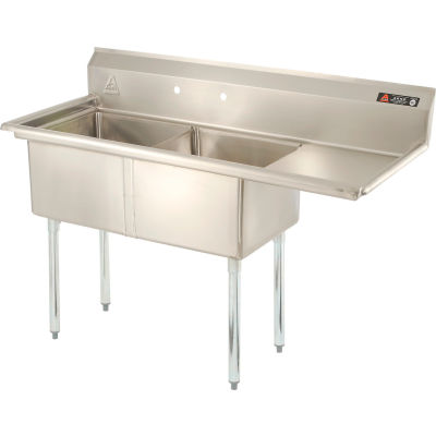 Aero Manufacturing Company® AF2-1818-18R Two Bowl SS Sink, 18 x 18, Right Sided Drainboard