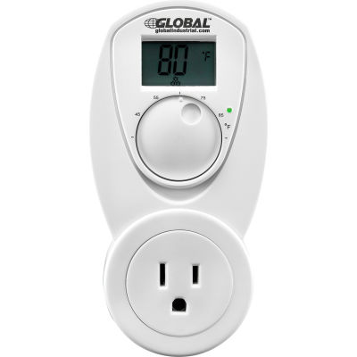 Global Industrial® Plug In Thermostat Control For Heat 120V, Analog 40-95°F
