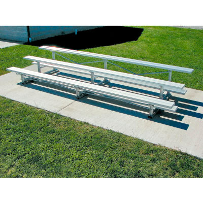 3 Row National Rep Tip N Roll Aluminum Bleacher, 15'W, Single Footboard