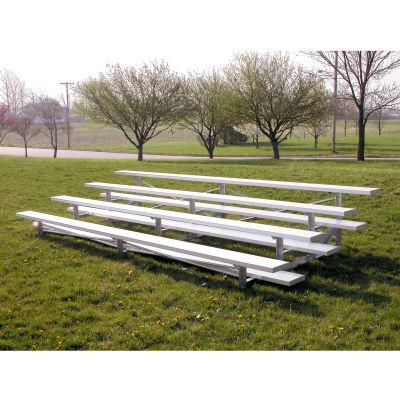 4 Row Low Rise Aluminum Bleacher, 15' Long, Single Footboard