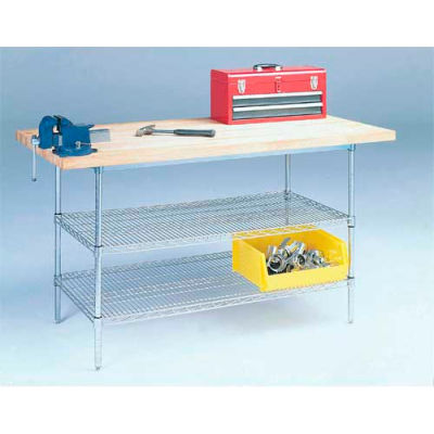 "Global Industrial™ 72"" W x 30"" D Wire Stationary Workbench, Maple Butcher Block Square Edge"