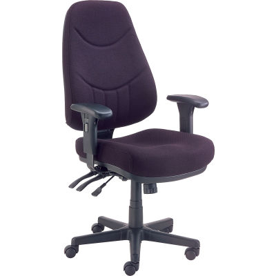 Interion® Multifunctional Office Chair with Arms - Fabric - Mid Back - Black Seat Black Base