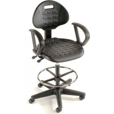 Interion® Tabouret ergonomique avec bras - Polyuréthane - 5 Way Adjustment - Noir
