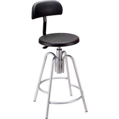 Interion® Shop Stool with Backrest - Polyurethane - Black