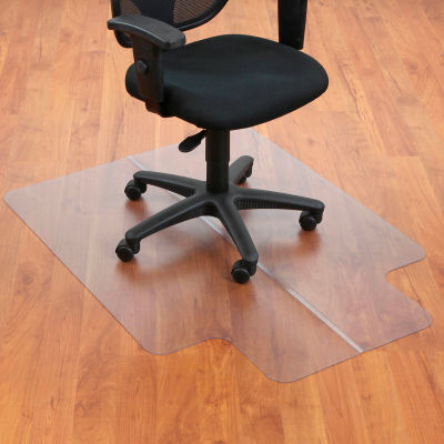"""Interion® Office Chair Mat for Hard Floor - 36""""W x 48""""L with 20"""" x 10"""" Lip - Straight Edge"""