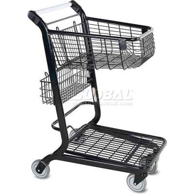 Panier d'achats au détail à fond platVersaCart®, 2 pieds cubes, gris métallique,101-350-B-MTG