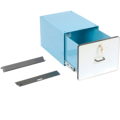 "Pro-Line Stacking Steel Drawer W/ Lock, 15""W x 20""D x 12""H, Blue"