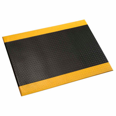"""Apache Mills Diamond Deluxe Soft Foot™ Mat 1/2"""" Thick 4' x Up to 60' Black/Yellow Border"""