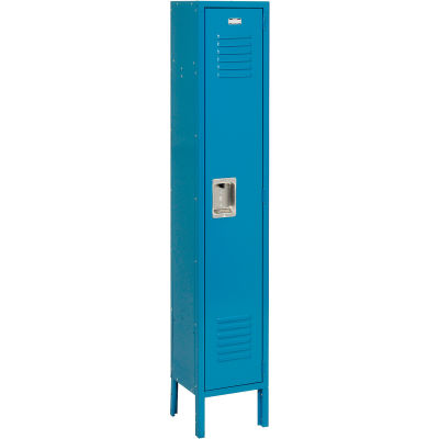"""Global Industrial™ Single Tier 1 Dr Extra Wide Locker, Recessed,15""""Wx18""""Dx72""""H,Blue,Unassembled"""