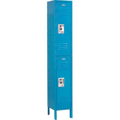 """Global Industrial™ Infinity® Double Tier 2 Door Locker, 12""""Wx15""""Dx36""""H, Blue, Unassembled"""