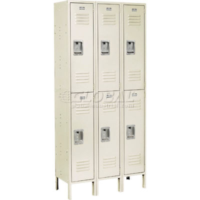 """Global Industrial™ Infinity® Double Tier 6 Door Locker, 12""""Wx18""""Dx36""""H, Tan, Unassembled"""