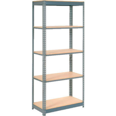 """Global Industrial™ Heavy Duty Shelving 36""""W x 24""""D x 84""""H With 5 Shelves - Wood Deck - Gray"""