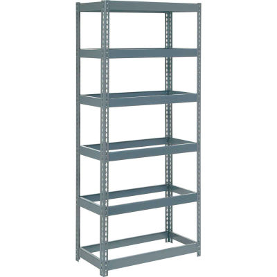 """Global Industrial™ Extra Heavy Duty Shelving 36""""W x 18""""D x 60""""H With 6 Shelves, No Deck, Gray"""