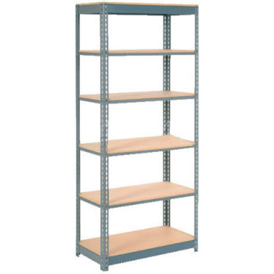 """Global Industrial™ Heavy Duty Shelving 36""""W x 24""""D x 96""""H With 6 Shelves - Wood Deck - Gray"""