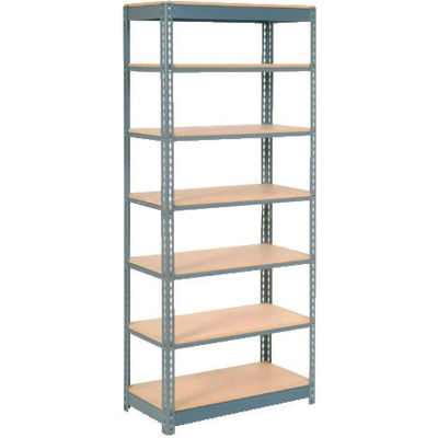 """Global Industrial™ Heavy Duty Shelving 36""""W x 24""""D x 96""""H With 7 Shelves - Wood Deck - Gray"""