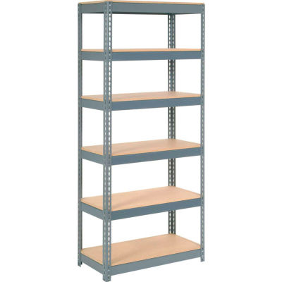 """Global Industrial™ Extra Heavy Duty Shelving 36""""W x 24""""D x 96""""H With 6 Shelves, Wood Deck, Gry"""