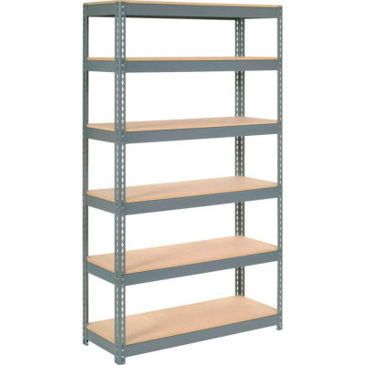"""Global Industrial™ Extra Heavy Duty Shelving 48""""W x 18""""D x 60""""H With 6 Shelves, Wood Deck, Gry"""