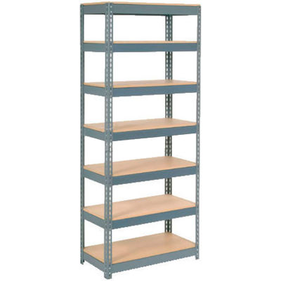 """Global Industrial™ Extra Heavy Duty Shelving 36""""W x 18""""D x 84""""H With 7 Shelves, Wood Deck, Gry"""