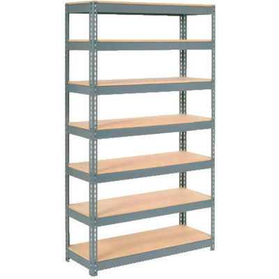 """Global Industrial™ Extra Heavy Duty Shelving 48""""W x 12""""D x 84""""H With 7 Shelves, Wood Deck, Gry"""