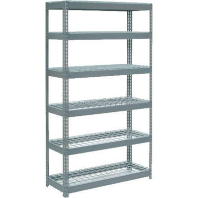 """Global Industrial™ Extra Heavy Duty Shelving 48""""W x 18""""D x 96""""H With 6 Shelves, Wire Deck, Gry"""