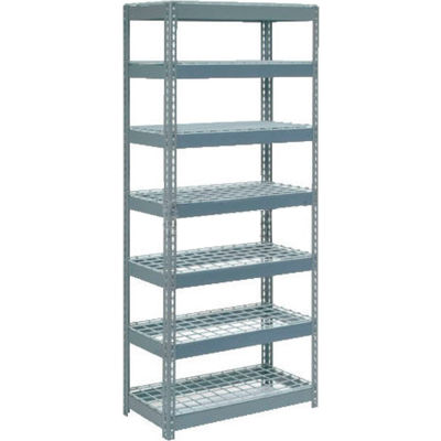 """Global Industrial™ Extra Heavy Duty Shelving 36""""W x 12""""D x 84""""H With 7 Shelves, Wire Deck, Gry"""