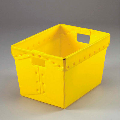 Global Industrial™ Corrugated Plastic Totes - Postal Nesting- No Lid 18-1/2x13-1/4x12 Yellow