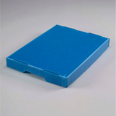 Global Industrial™ Corrugated Plastic Postal Mail Tote Lid Blue  - Pkg Qty 10