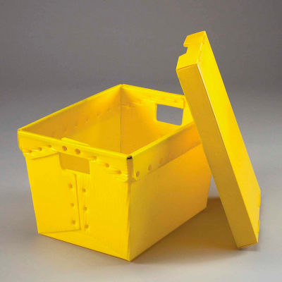 Global Industrial™ Corrugated Plastic Postal Mail Tote With Lid 18-1/2x13-1/4x12 Yellow - Pkg Qty 10