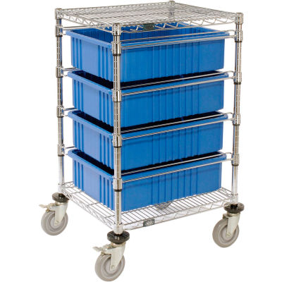 "Global Industrial™ Chrome Wire Cart With (4) 6""H Blue Grid Containers 21"" x 24"" x 40"""