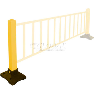"Safety Steel Galvanized Post with Rubber Base 39""H Yellow, Post Only"
