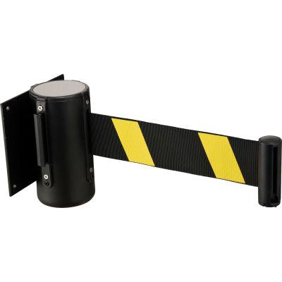 """Global Industrial™ Black Wall Mount 79"""" Noir/ Jaune Barrière de ceinture rétractable avec récepteur"""
