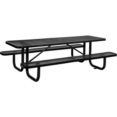Global Industrial™ 8 ft. Rectangular Outdoor Steel Picnic Table, Expanded Metal, Black