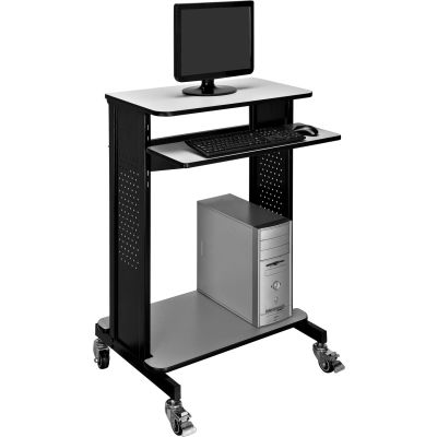 Global Industrial™ Mobile Computer Workstation / Standing Desk with Keyboard & Mouse Tray