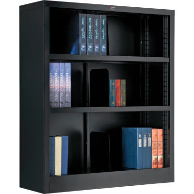 """Interion® All Steel Bookcase 36"""" W x 12"""" D x 42"""" H Black 3 Openings"""