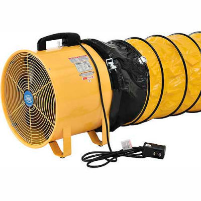 "Global Industrial™ 12"" Portable Ventilation Fan with 32' Flexible Duct - 1640 CFM - 3/8 HP"