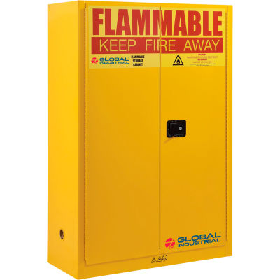 "Global Industrial™ Flammable Cabinet W/ Manual Close Double Doors, 45 Gal. Cap., 43""Wx18""Dx65""H"