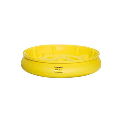 Eagle 1615 Drum Tray with Grating for 30 and 55 Gallon Drums - Yellow with Black Grating