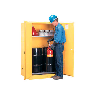 Justrite® Drum Cabinet 60 Gal. Capacity Vertical Manual Close Flammable W/ Drum Rollers