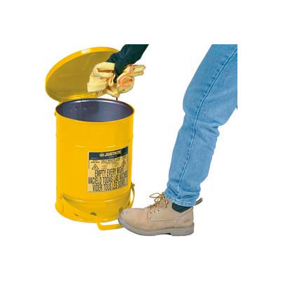 Justrite 14 Gallon Oily Waste Can, Yellow - 09501