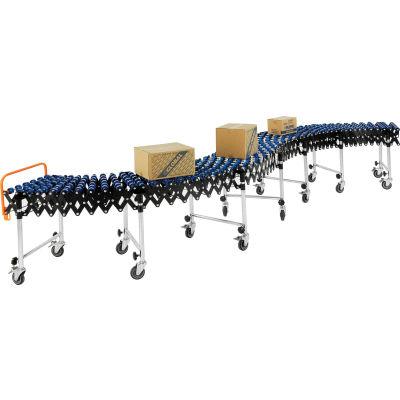 "Global Industrial™ Portable Flexible & Expandable 6'2""-24'8"" Conveyor - Nylon Wheels - 18""W"