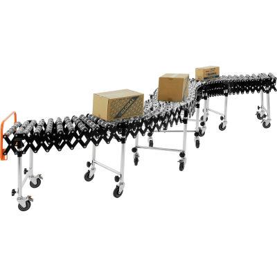 "Global Industrial™ Portable Flexible & Expandable 6'2""-24'8"" Conveyor Steel Skate Wheels - 18""W"