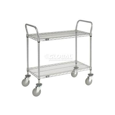 "Nexel® Utility Cart, 2 Shelf, Nexelate®, 36""L x 18""W x 39""H, Polyurethane Casters"