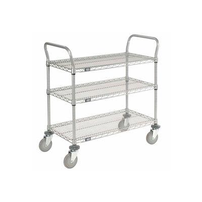 "Nexel® Utility Cart, 3 Shelf, Nexelate® , 36""L x 18""W x 39""H, Polyurethane Casters"