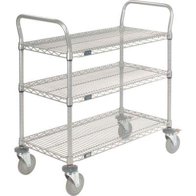 "Nexel® Utility Cart, 3 Shelf, Nexelate® , 36""L x 18""W x 39""H, Polyurethane Brake Casters"