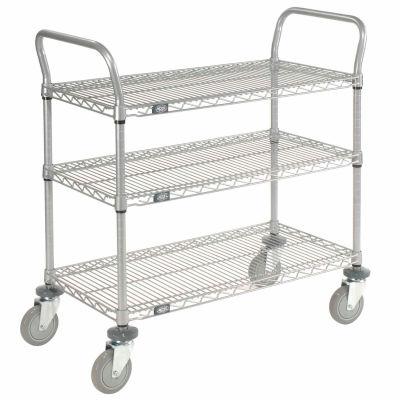 "Nexel® Utility Cart, 3 Shelf, Nexelate® , 36""L x 24""W x 39""H, Polyurethane Casters"