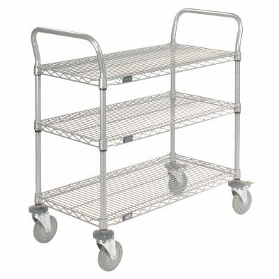 "Nexel® Utility Cart, 3 Shelf, Nexelate® , 36""L x 24""W x 39""H, Polyurethane Brake Casters"