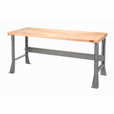Global Industrial™ 48 x 30 x 34 Fixed Height Workbench Flared Leg - Maple Square Edge - Gray
