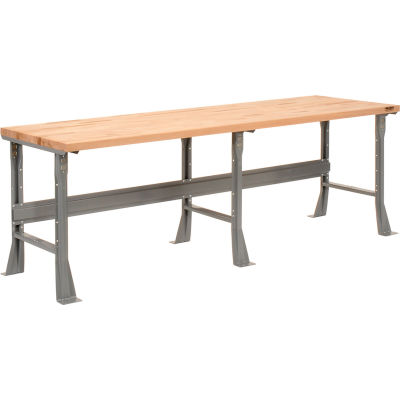 Global Industrial™ 96 x 36 x 34 Fixed Height Workbench Flared Leg - Maple Square Edge - Gray